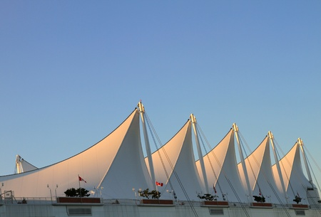 The Roof of Canada Place with White Sails in Vancouver