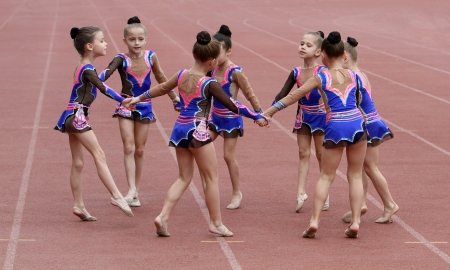 Girls perform on the opening ceremony