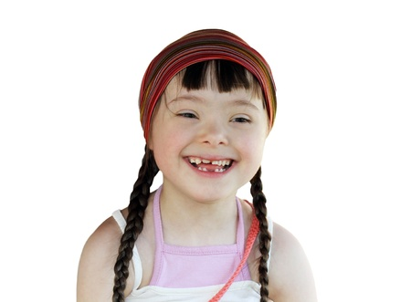 Portrait of happy young girl isolated on the white