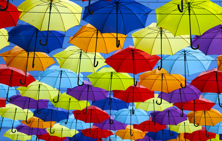 Photo for Colorful umbrellas background. Street decoration. - Royalty Free Image