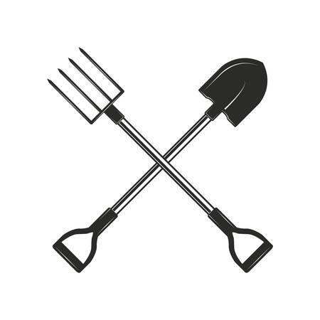 Crossed gardening and farming tools isolated on white background. Shovel and garden forks in monochrome style. Vector illustration.