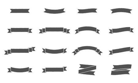 Photo pour Vector ribbon banners. Vintage design of ribbon banners. Set of 16 gray ribbons banners. - image libre de droit