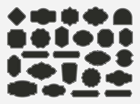 Photo pour Set of Vintage blank labels and frames. Old design decorative banners. Retro tags templates for packaging, logos and badges. Vector illustration - image libre de droit