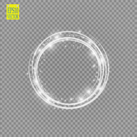 Ilustración de Light ring. Round shiny frame with lights dust trail particles isolated on transparent background. - Imagen libre de derechos