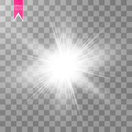 Ilustración de Glow light effect. Starburst with sparkles on transparent background. Vector illustration. - Imagen libre de derechos