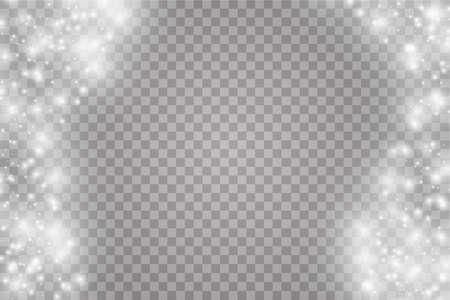 Ilustración de Vector white glitter wave abstract illustration. White star dust trail sparkling particles isolated on transparent background. Magic concept - Imagen libre de derechos