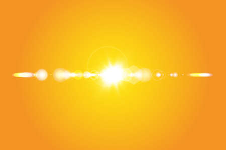 Illustration for Warm sun on a yellow background. Summer. Glare. Solar rays. - Royalty Free Image