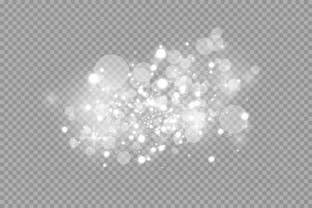 Illustration pour Glow light effect. Vector illustration. Christmas flash dust. White sparks and glitter special light effect. Vector sparkles on transparent background. Sparkling magic dust particles - image libre de droit
