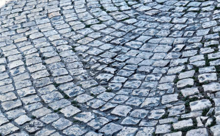 Photo for Old cobblestone pavement close-up. Texture for paving stone. Abstract structured background. - Royalty Free Image