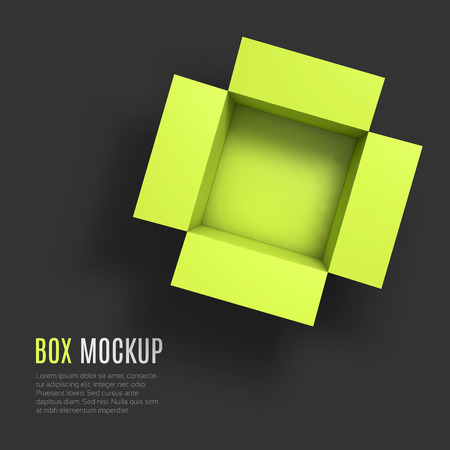 Open box mockup template. Top view. Vector Illustration EPS10.