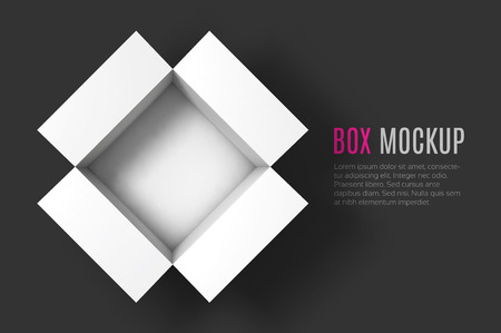 Open box mockup template. Top view. Vector Illustration .