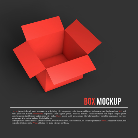 Open red box mockup template. Can be used to deliver your goods. Vector Illustration EPS10.