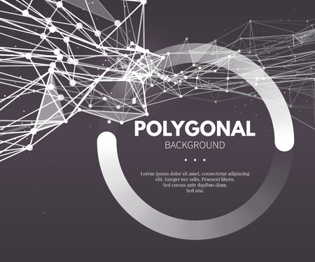 Illustration pour Wireframe mesh polygonal background. Wave with connected lines and dots. Vector Illustration EPS10. - image libre de droit