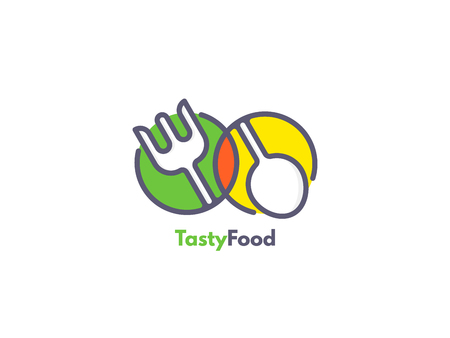 Ilustración de Food logo like icon. Fork and Spoon inside circles. Catering concept. - Imagen libre de derechos