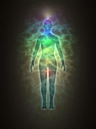 Woman energy body, blue aura, chakras, energy, silhouette
