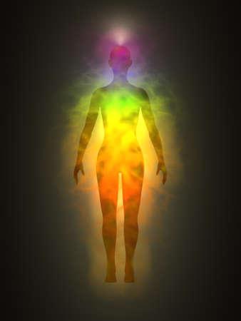 Woman energy body, aura, chakras, energy, silhouette