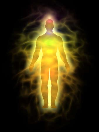 Man energy body, aura - silhouette