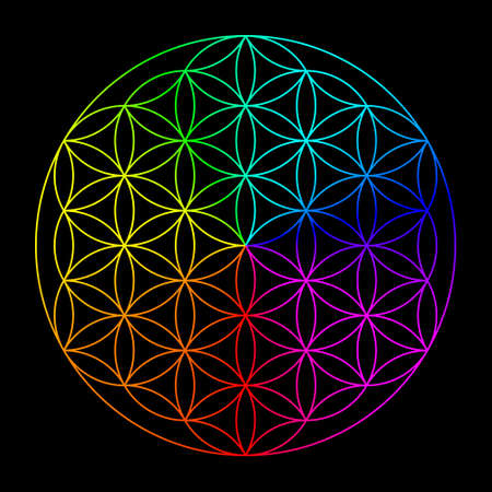 Rainbow flower of life - symbol of sacred geometry
