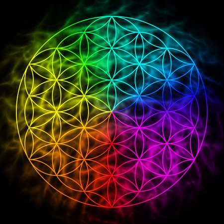 Rainbow flower of life with aura - symbol of sacred geometry