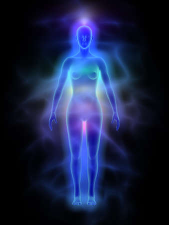 Human energy body aura with chakras - woman