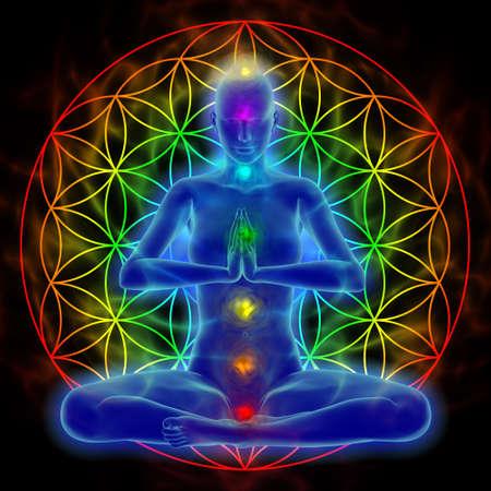 Illustration of woman meditating, symbol flower of life