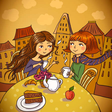 Illustration pour Two young women drinking coffee in cafe - image libre de droit