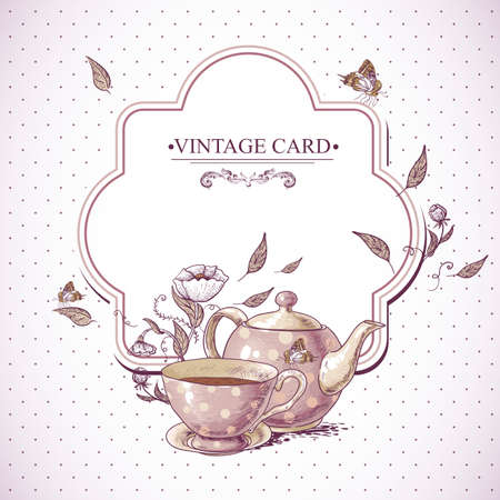 Invitation Vintage Card with a Cup of Tea or Coffee, Pot, Flowers and Butterfly.