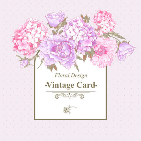 Illustration pour Vintage Greeting Card with Hydrangea and Peonies - image libre de droit