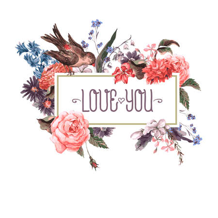 Photo pour Vintage Greeting Card with Flowers and Birds. - image libre de droit