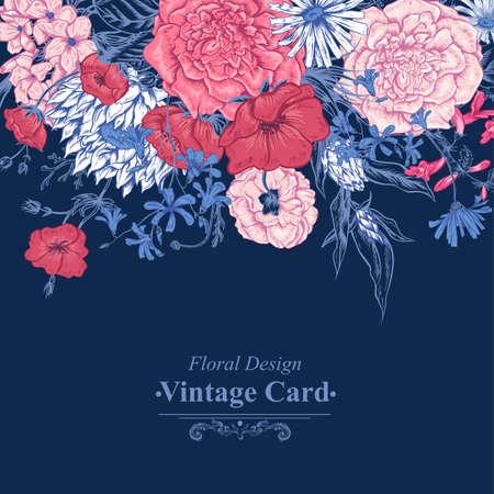 Illustration pour Gentle Retro Summer Floral Greeting Card, Vintage Bouquet, Vector illustration. Roses Poppies Bluebells Peony Lily - image libre de droit