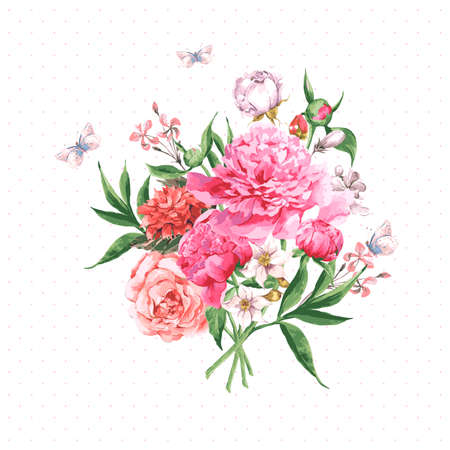 Illustration pour Vintage Watercolor Greeting Card with Blooming Flowers and Butterflies. Roses, Wildflowers and Peonies, Vector Illustration - image libre de droit