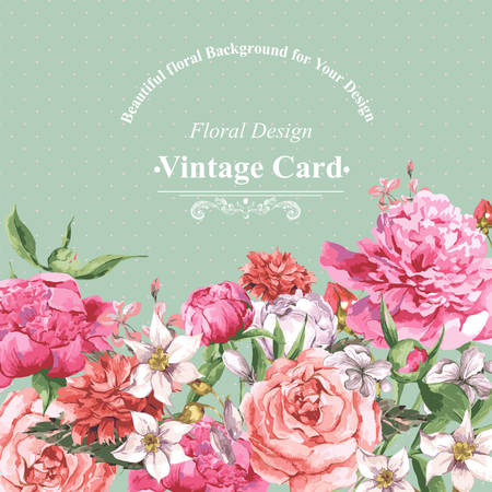 Vintage Watercolor Greeting Card with Blooming Flowers. Roses, Wildflowers and Peonies, Vector Illustration