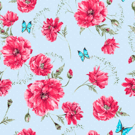 Photo pour Beautiful gentle watercolor vintage summer seamless pattern with red poppies, blue butterflies and ladybird, watercolor vector illustration - image libre de droit