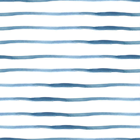 Dark Blue Vector Abstract Watercolor Seamless Striped Pattern, vector illustration