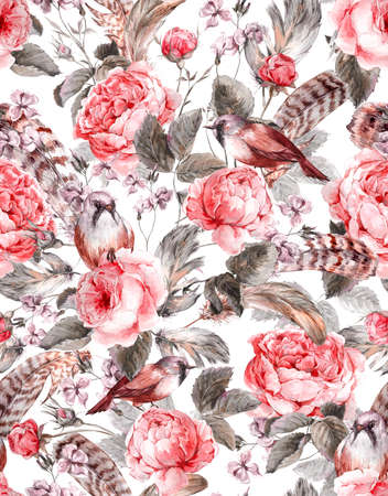 Watercolor floral vintage seamless pattern with roses birds and feathers , watercolor illustration