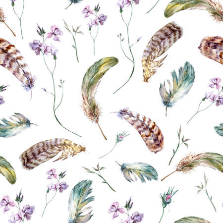 Watercolor floral vintage seamless pattern with feathers, watercolor illustration