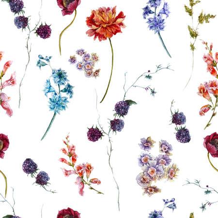 Photo pour Watercolor floral vintage seamless pattern with wildflowers - image libre de droit