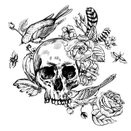 Skull with Flowers, Roses, Birds and Feathers Black and white Vector illustration, tattoo design