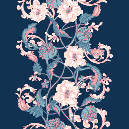 Illustration pour Vintage floral baroque seamless border with blooming magnolias, roses and twigs, vector illustration - image libre de droit