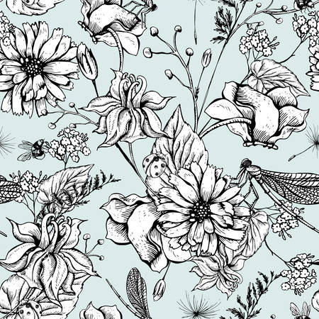 Illustration for Vintage monochrome garden flowers vector seamless pattern, Botanical shabby chic illustration wild flowers, dragonflies, bees, ladybird, daisies leaves and twigs Floral design elements. - Royalty Free Image
