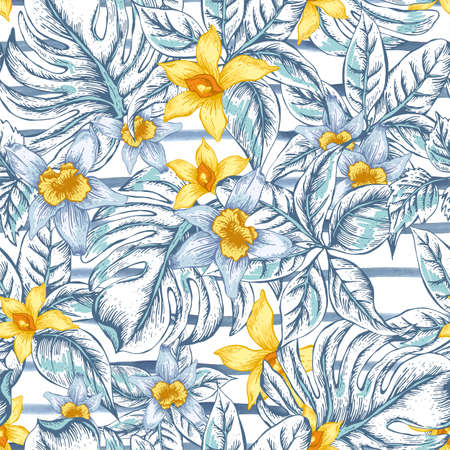 Illustration pour Gentle Natural floral leaves exotic vector seamless pattern, white and yellow flower orchid, tropical leaves, botanical summer illustration on striped background - image libre de droit