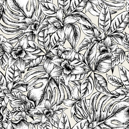 Illustration for Natural floral leaves exotic vector seamless pattern, monochrome flower orchid, Black and white tropical leaves, botanical summer illustration on white background - Royalty Free Image