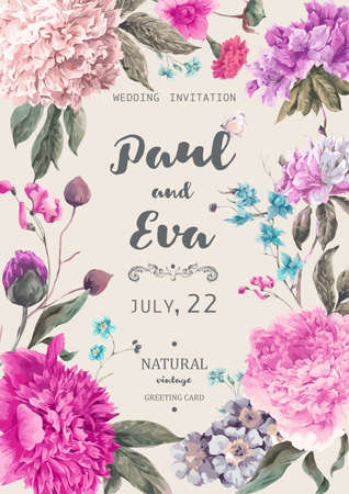 Vintage floral wedding invitation with peonies and garden flowers, botanical natural peonies Illustration. Summer floral peonies greeting card