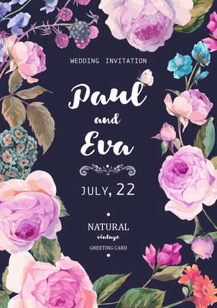 Illustration for Vintage floral vector wedding invitation with English roses and wildflowers, botanical natural rose Illustration. Summer floral roses greeting card - Royalty Free Image