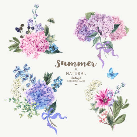 Illustration pour Set of vintage floral vector bouquet of blooming hydrangea and garden flowers, botanical natural hydrangea Illustration on white. Summer floral hydrangea greeting card  in watercolor style - image libre de droit