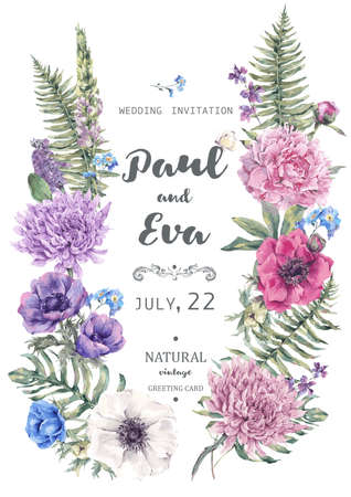 Illustration for Vintage floral vector wedding invitation with wreath of anemones, peony, chrysanthemum, ferns and wildflowers, botanical natural anemones Illustration. - Royalty Free Image