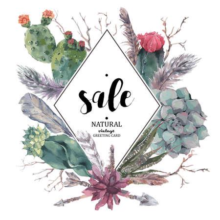 Illustration pour Vintage sale card with branches, succulent, cactus, arrows and feathers in boho style - image libre de droit