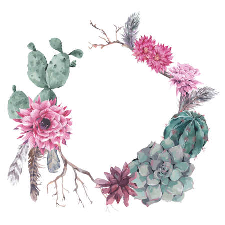Illustration pour Summer vintage floral wreath with branches, succulent, cactus and feathers in boho style - image libre de droit