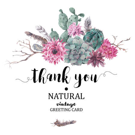 Illustration pour Summer vintage Thank You card with branches, succulent, cactus and feathers in boho style - image libre de droit