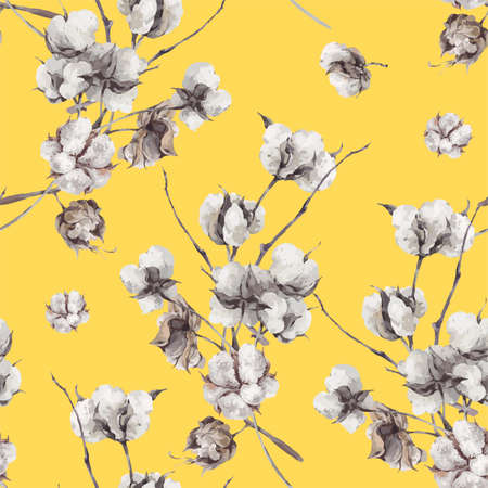 Illustration for Vintage bouquet of twigs and cotton flowers. Botanical illustrations. Seamless pattern on yellow background. - Royalty Free Image